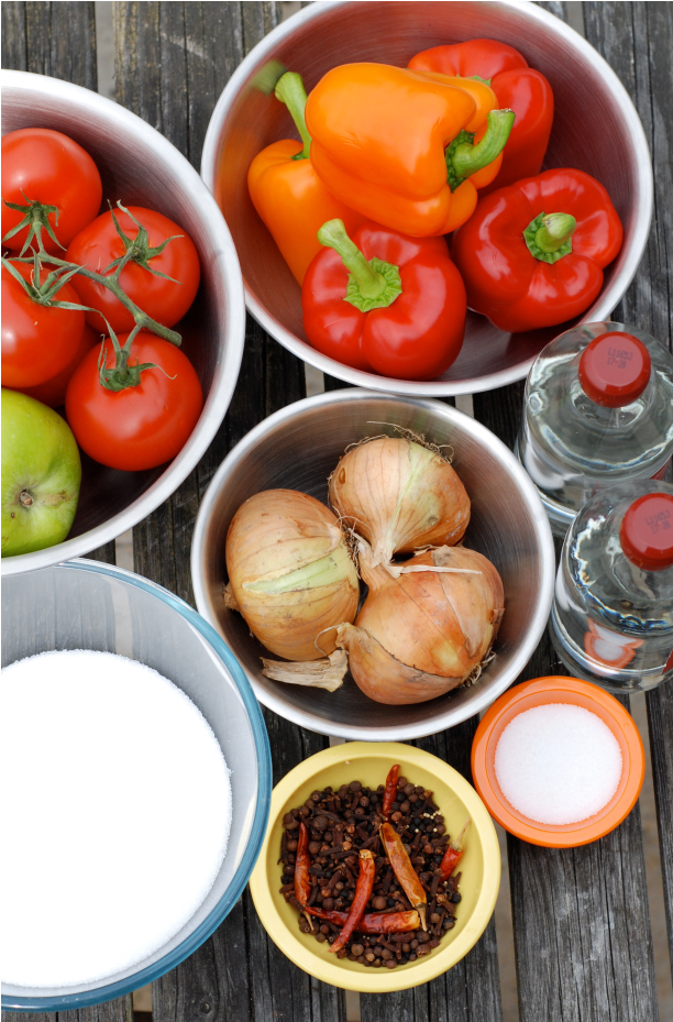 Tomato and Pepper Chutney Ingredients